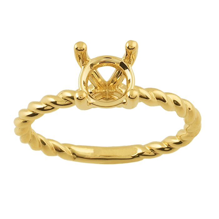 14K Yellow Gold Rope Engagement Ring Mounting This 14karat yellow