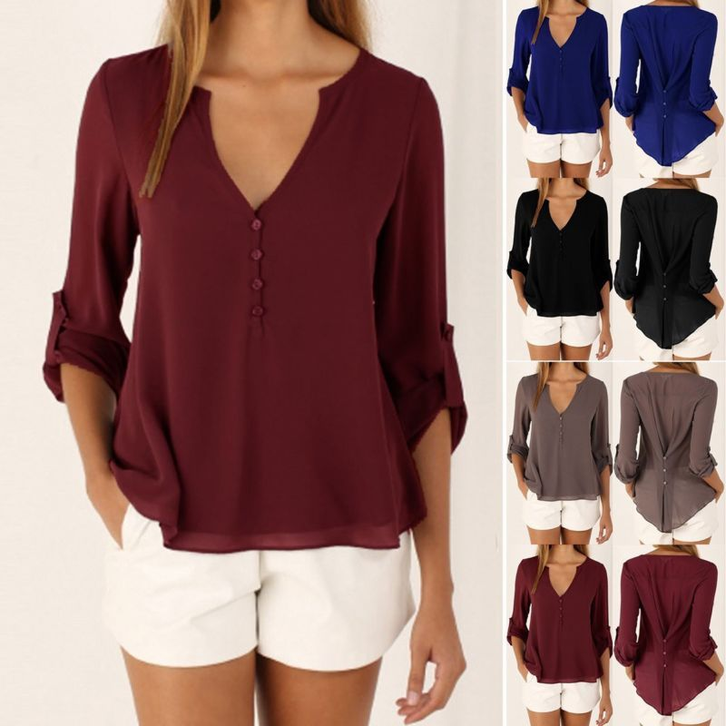 aee5ac684e Moda Para mujeres Damas Verano Suelta de Chifón Prendas para el torso Mangas  largas Camisa Informal Blusa