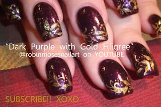 Nail-art by Robin Moses dark with gold accents http://www.youtube.com/watch?v=-JFN8hqEwt8
