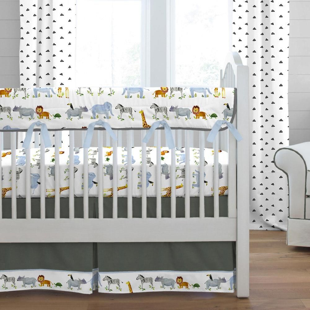 Painted Zoo Crib Bedding Baby Boy Crib Bedding Elephant Crib