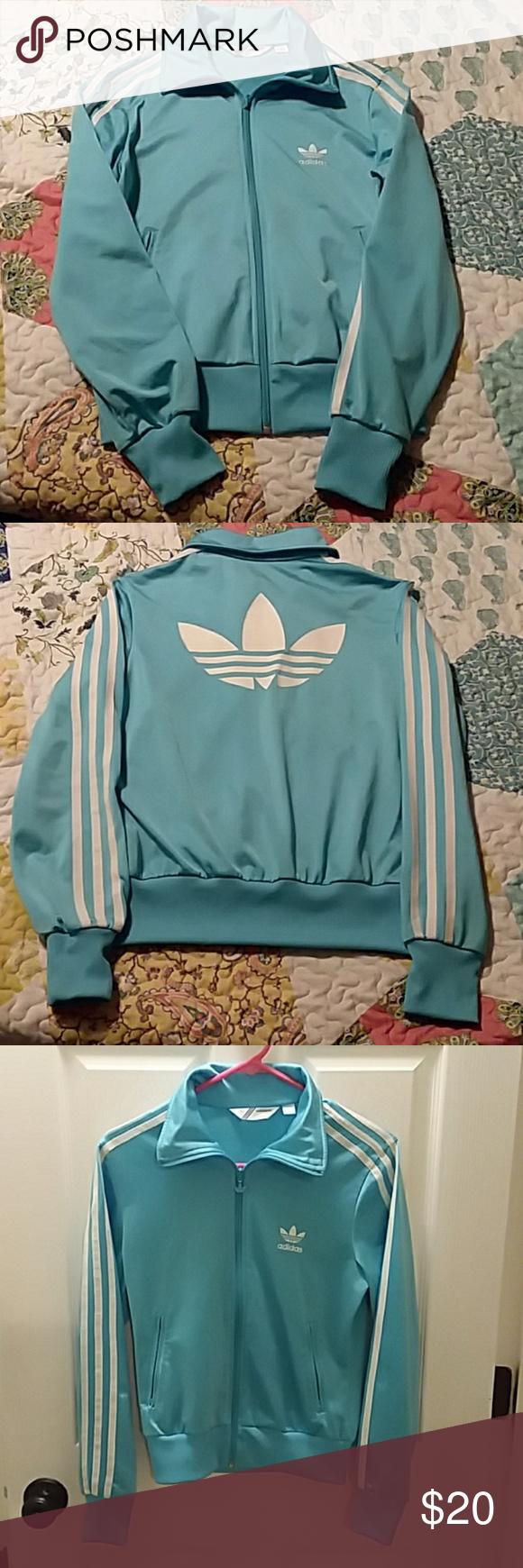 Baby blue adidas athletic jacket Baby blue adidas athletic jacket. Adidas symbol on back. Great condition! adidas Jackets & Coats