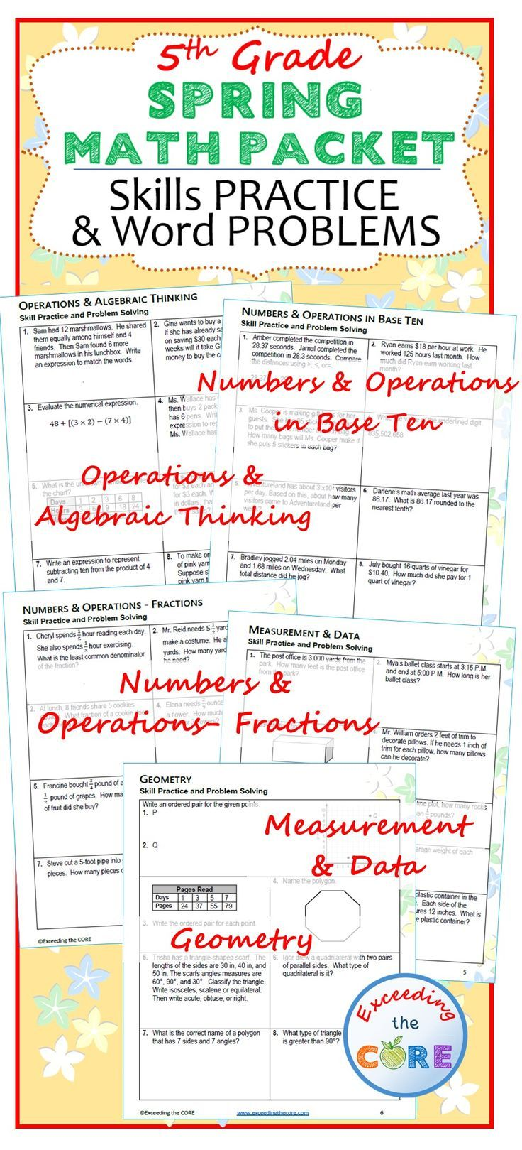 5th Grade SPRING April MATH PACKET { COMMON CORE Assessment } | MATH ...