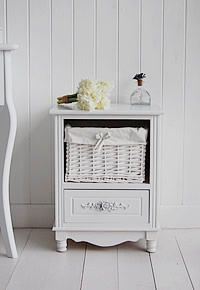 Rose small white bedside cabinet with drawers and basket.from The White  Lighthouse. Great