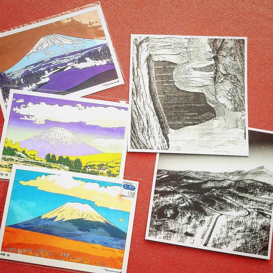 Shook the contents out of my leather #travelbag and found memories of #travels last April in #hokkaido #Japan Five #postcards  Two black & white #photos , textural shots and #landscape , free from the #Zen heaven #ryokan #zaborin @zaborin.ryokan Three wonderful 2 dimensional #pastel #illustrations of #mountyotei #niseko , 130 yen from the local #Japanese gift shop #visitjapan #visithokkaido #postcards