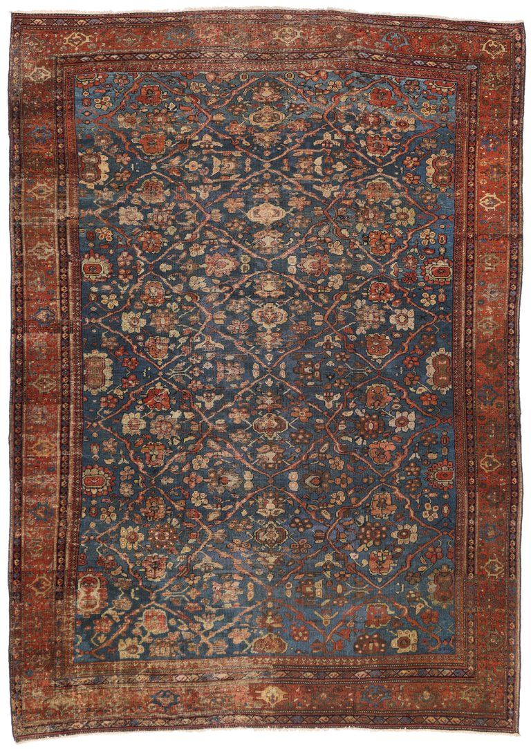 Distressed Antique Persian Sultanabad Rug With Modern Industrial Style