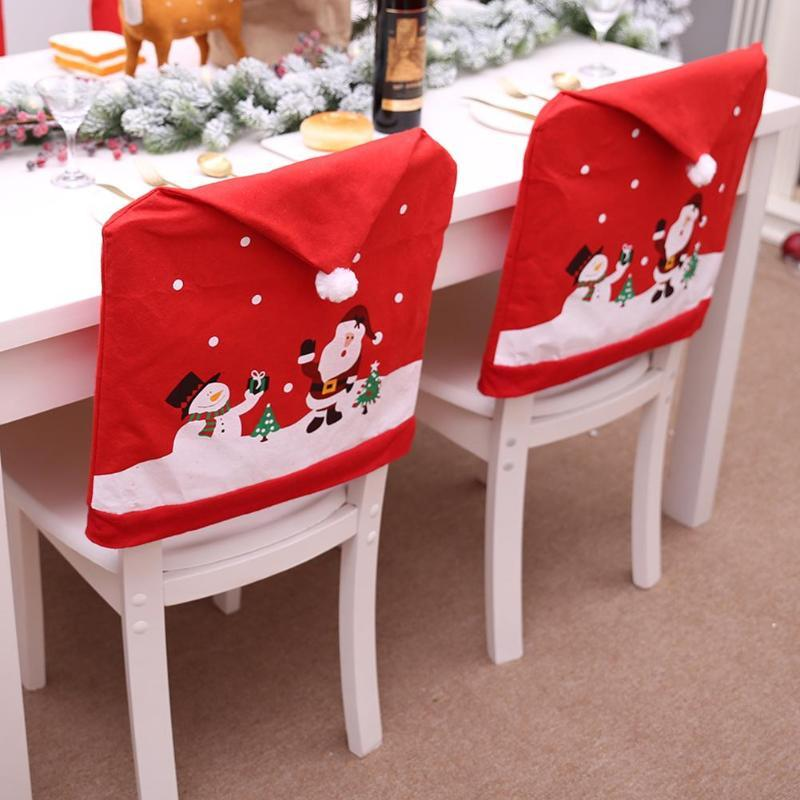 Santa Claus Christmas Chairs Cover Cap Christmas Chair Christmas Chair Covers Snowman Christmas Decorations