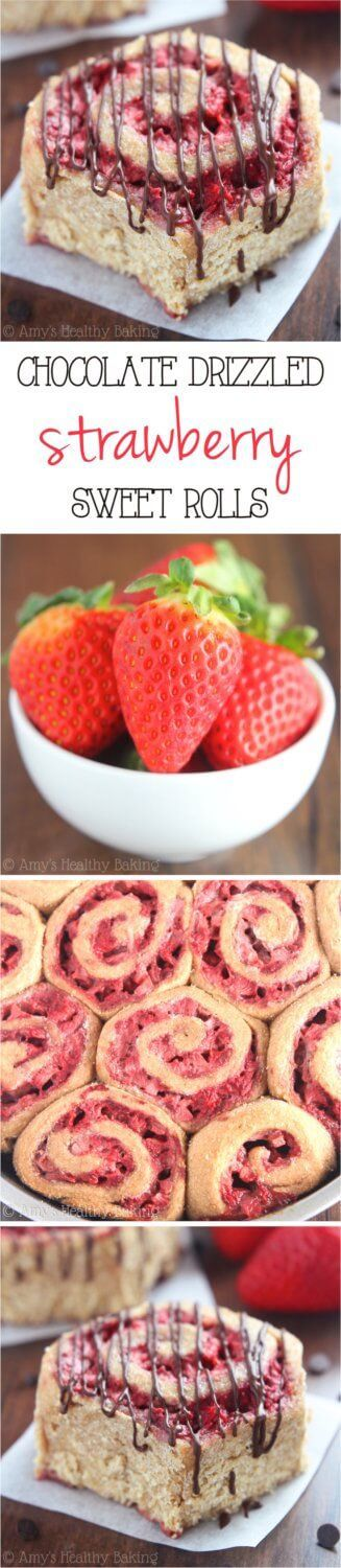 Clean Eating Strawberry Sweet Rolls with Dark Chocolate Drizzle Recipe