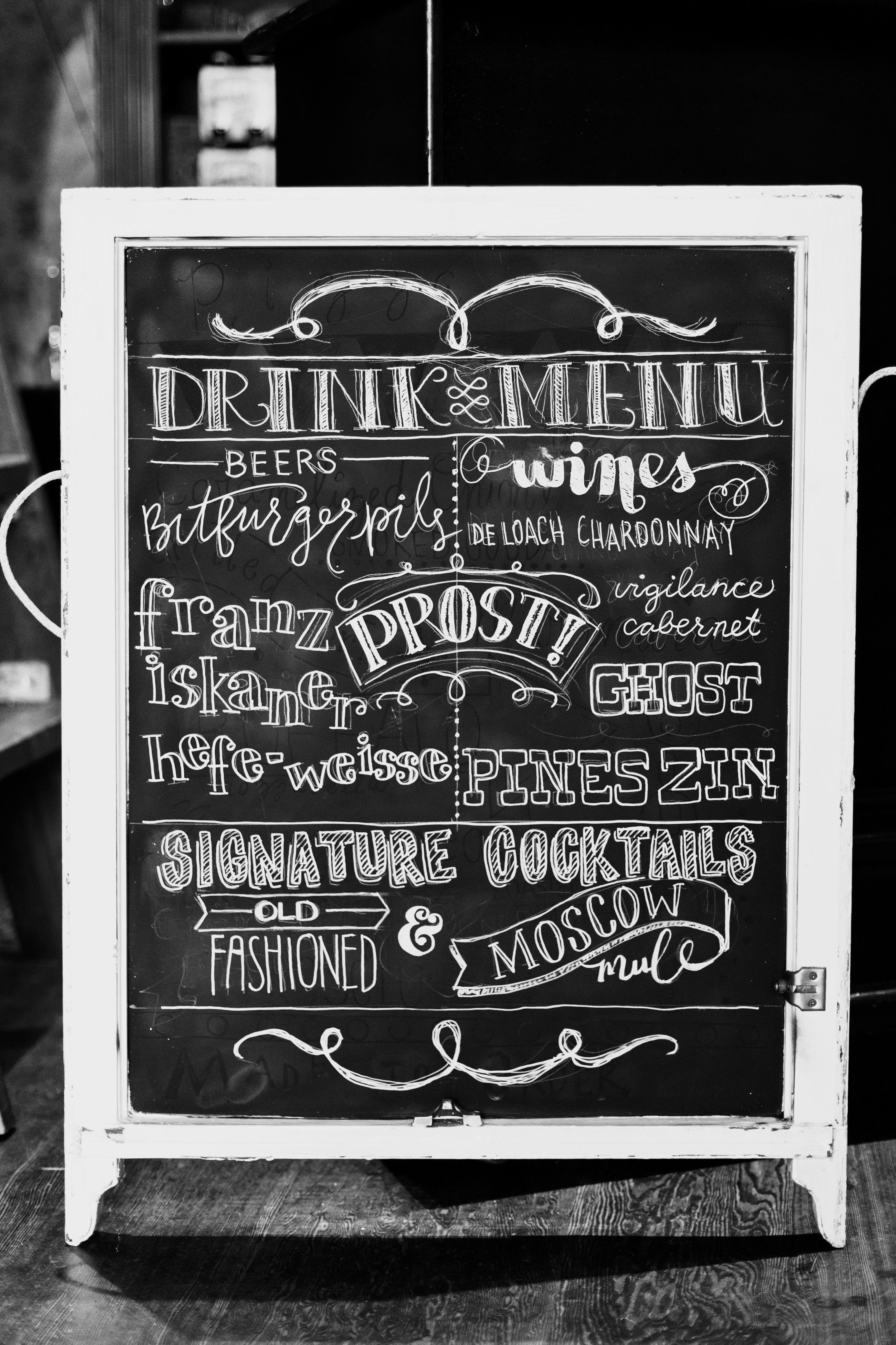 Drink menu handlettering typography sign chalkboard pattisignmaker pinterest drink for Chalkboard font ideas