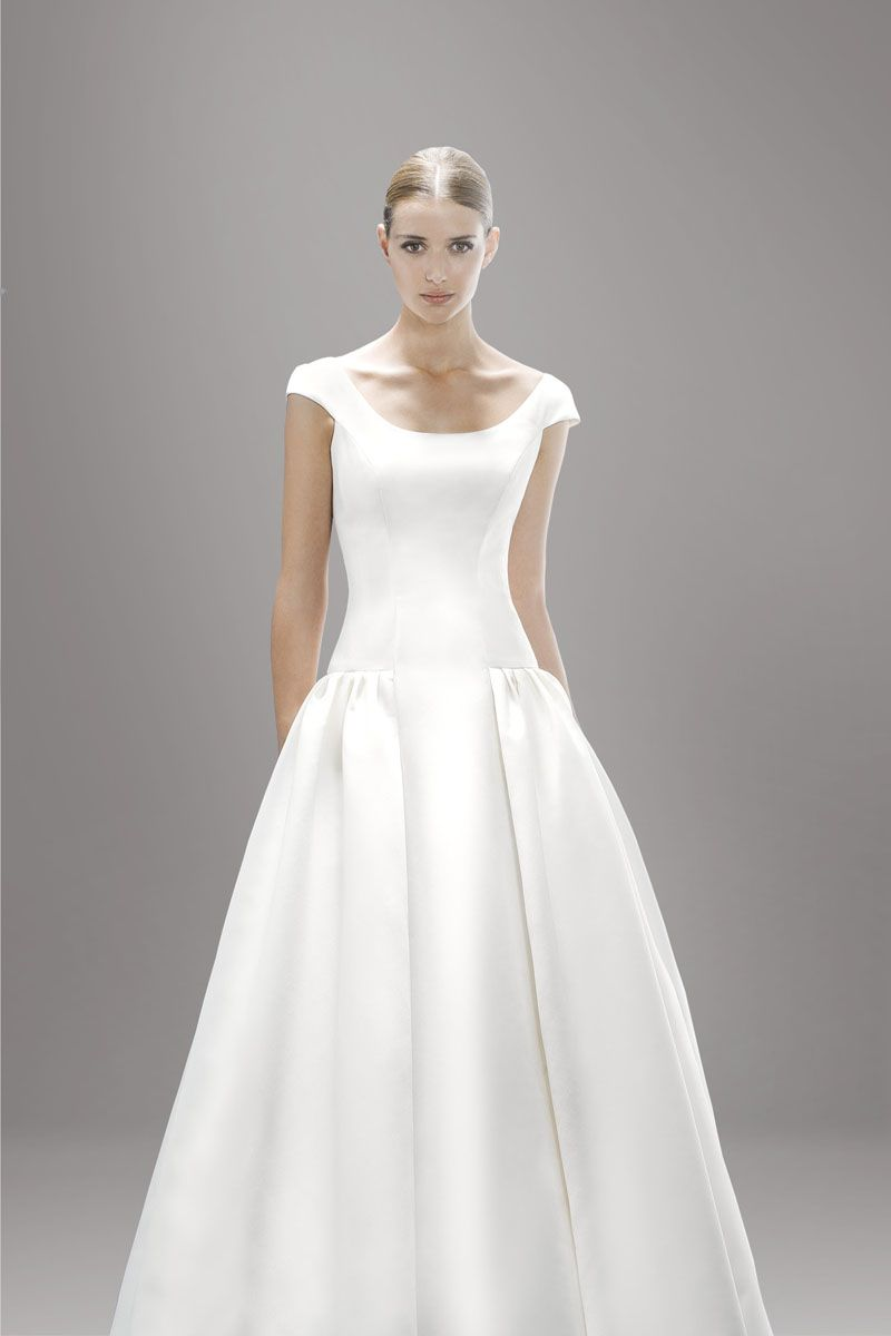 Ivory scoop neck satin cap sleeve draped wedding dress for Silk wedding dresses with sleeves