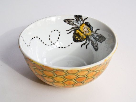 Bee & Honeycomb Bowl - Hand Painted #potterypaintingideas