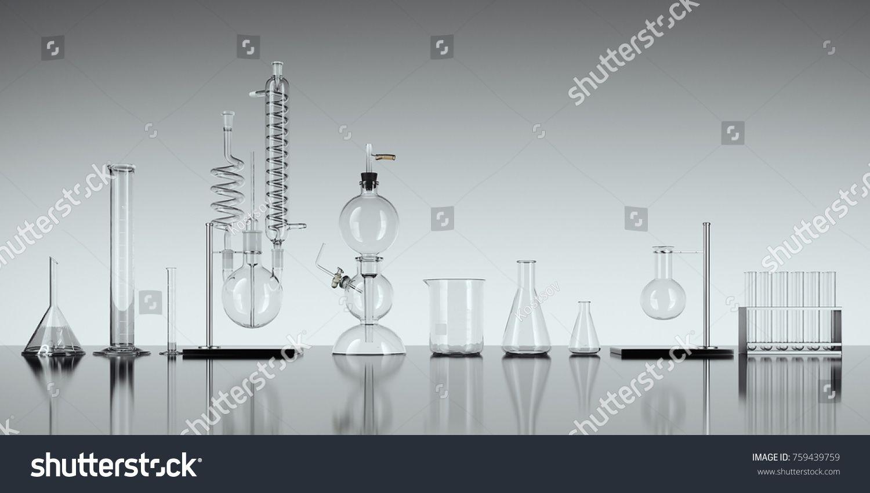 Glass Chemistry Lab Equipment On White Background Chemistry Lab