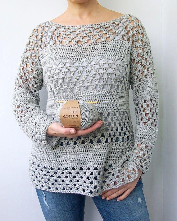 Crochet Pattern Woman Granny Stripes Sweater Women Pullover Häkeln