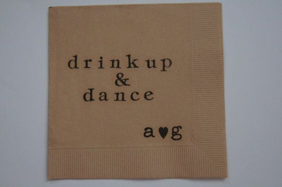 Drink Up & Dance Wedding Cocktail Napkins Set of by WithLoveAndInk, $18.00