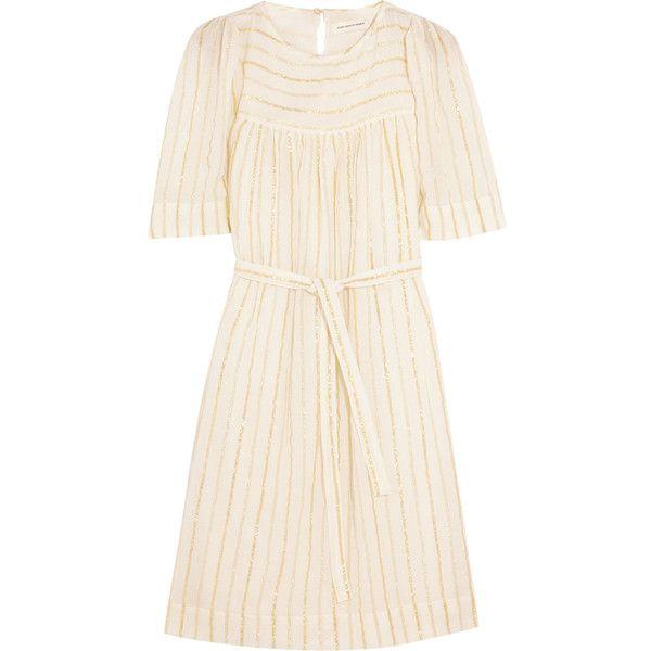 Étoile Isabel Marant Samoa striped cotton-blend mini dress (275 BRL) ❤ liked on Polyvore featuring dresses, white, white loose dress, white sleeve dress, keyhole dress, short dresses and white keyhole dress