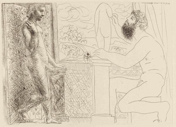 Pablo Picasso, Sculptor working on statue with model (Marie Therese) posing, plate 59,The Vollard Suite