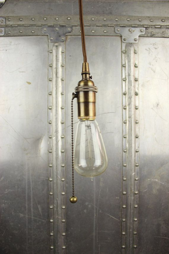 Industrial Pull Chain Plug In Pendant Light By Illuminatevintage