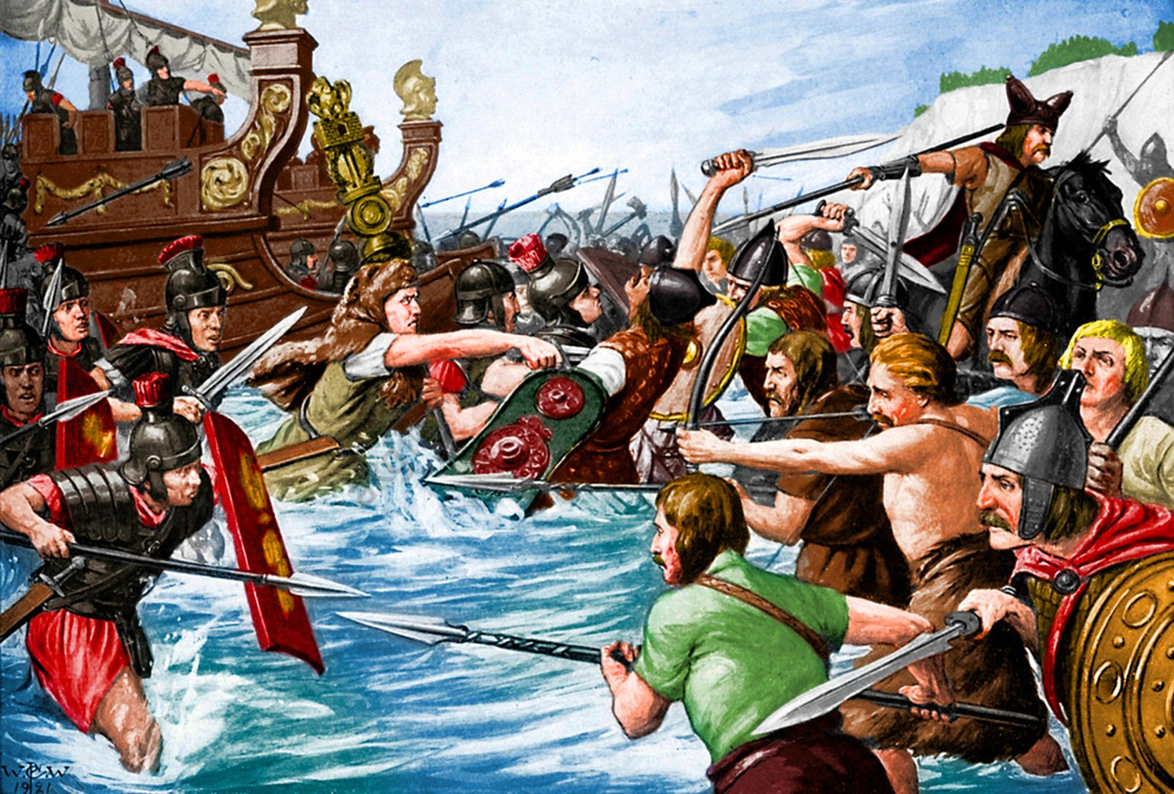 The Landing Of Julius Caesar In Britain 55 Bc By Richard Caton