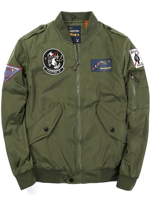 74693aaac26f8 Zip Up Badge Patched Bomber Jacket
