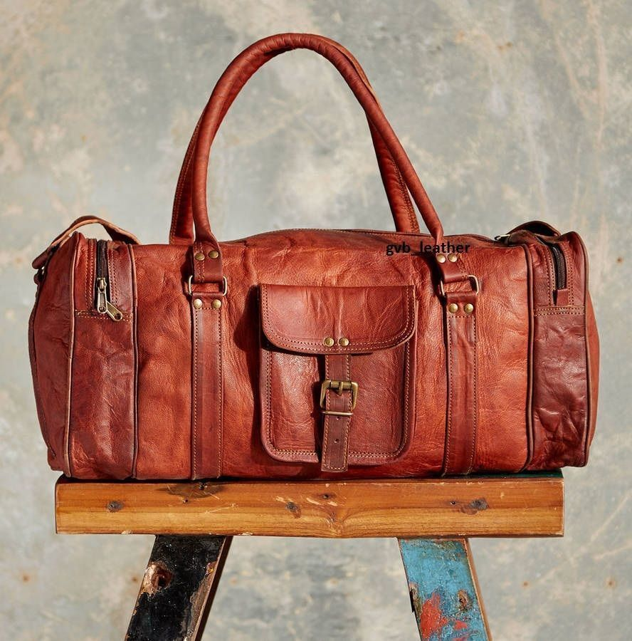 Brown Genuine Leather Goathide Travel Luggage Duffle Gym Bags New Bag