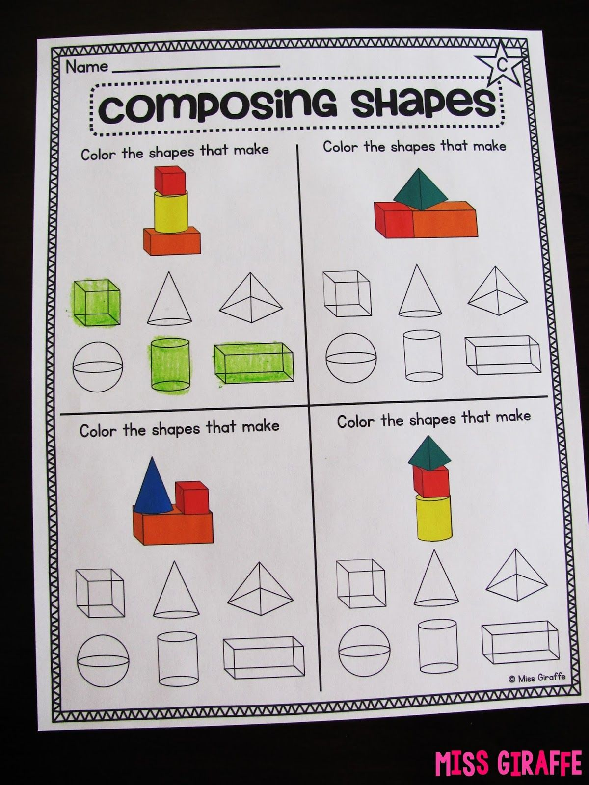 3d Shapes Worksheets For Grade 1 [ 1600 x 1200 Pixel ]