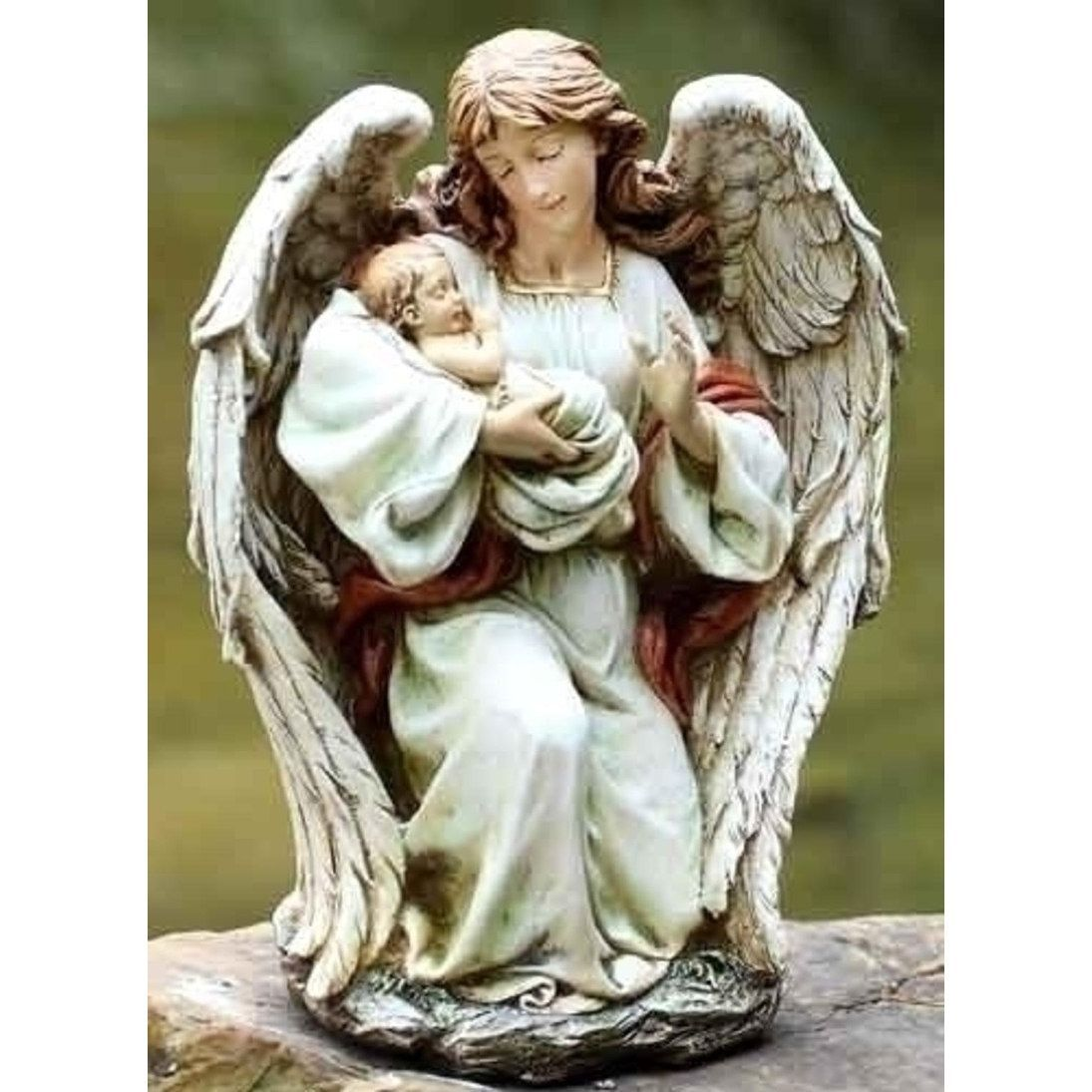 """17"""" Joseph s Studio Angel Holding Baby Outdoor Garden Statue"""