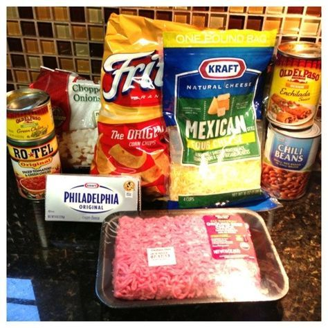 Taco Casserole... I think I'd prefer without Fritos. Make casserole and give Fritos or taco shells/wraps as options