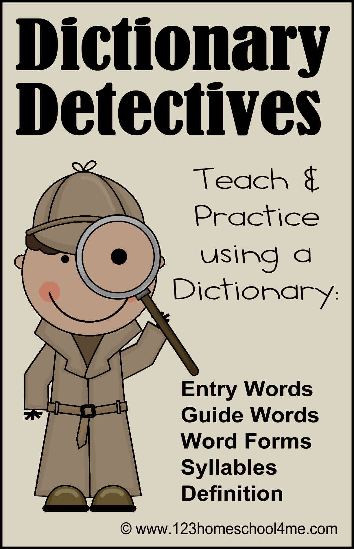 Dictionary Detective Center Amp Worksheets
