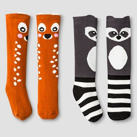 96980ff4c1e Toddler   Baby Girls  2pk Fawn and Raccoon Socks Cat   Jack™ - Orange Black  2T-5T   Target