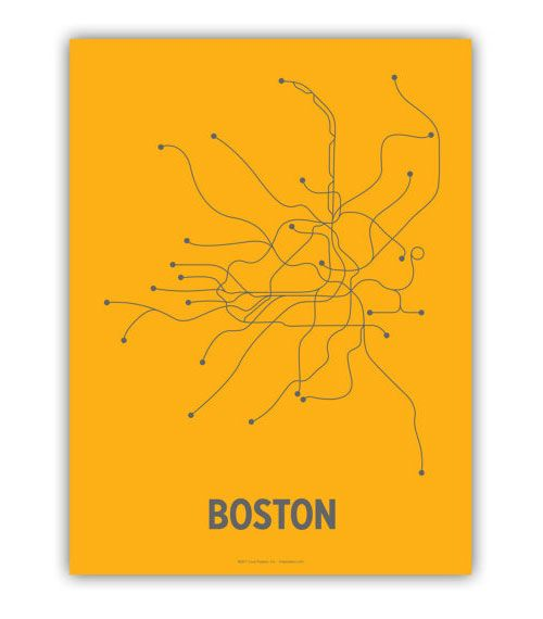 Boston Subway Map Poster