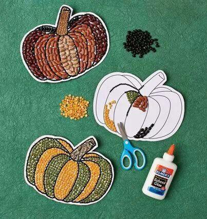 Multicolored beans pumpkin project
