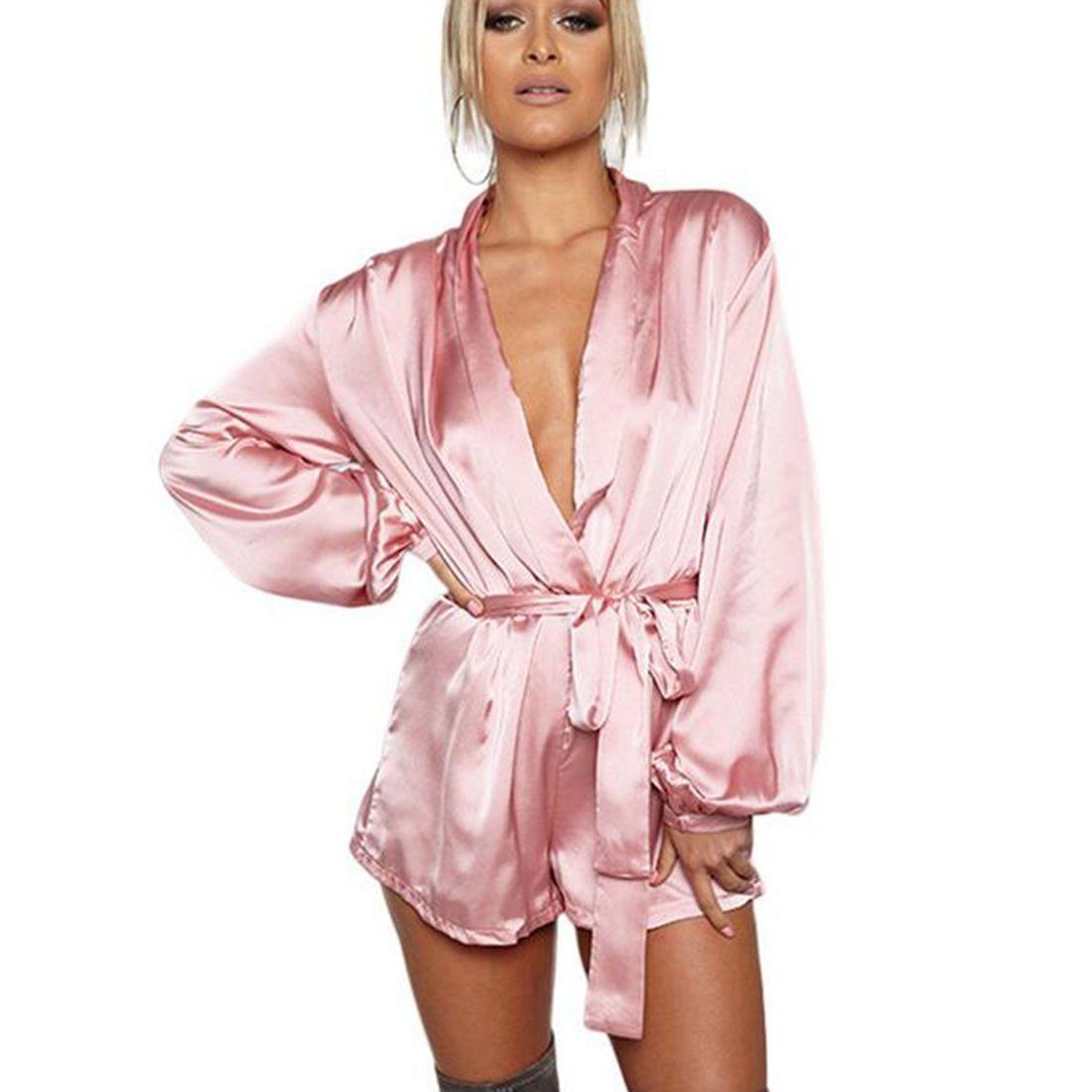 0c59d383a93 Elegant Lady V Neck Jumpsuit Fashion Pink Blush Silk Satin Short Romper  Playsuit