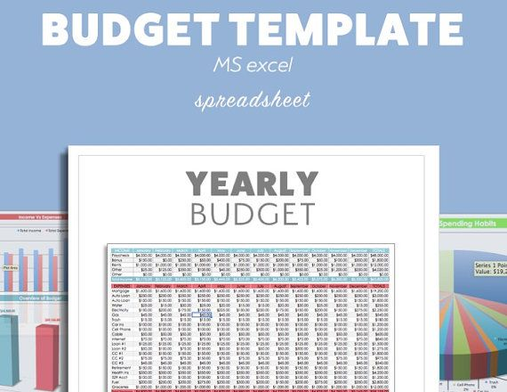 BUDGET Planner Template MS Microsoft Excel DIY Budget by Pixel26 - Financial Spreadsheet For Small Business