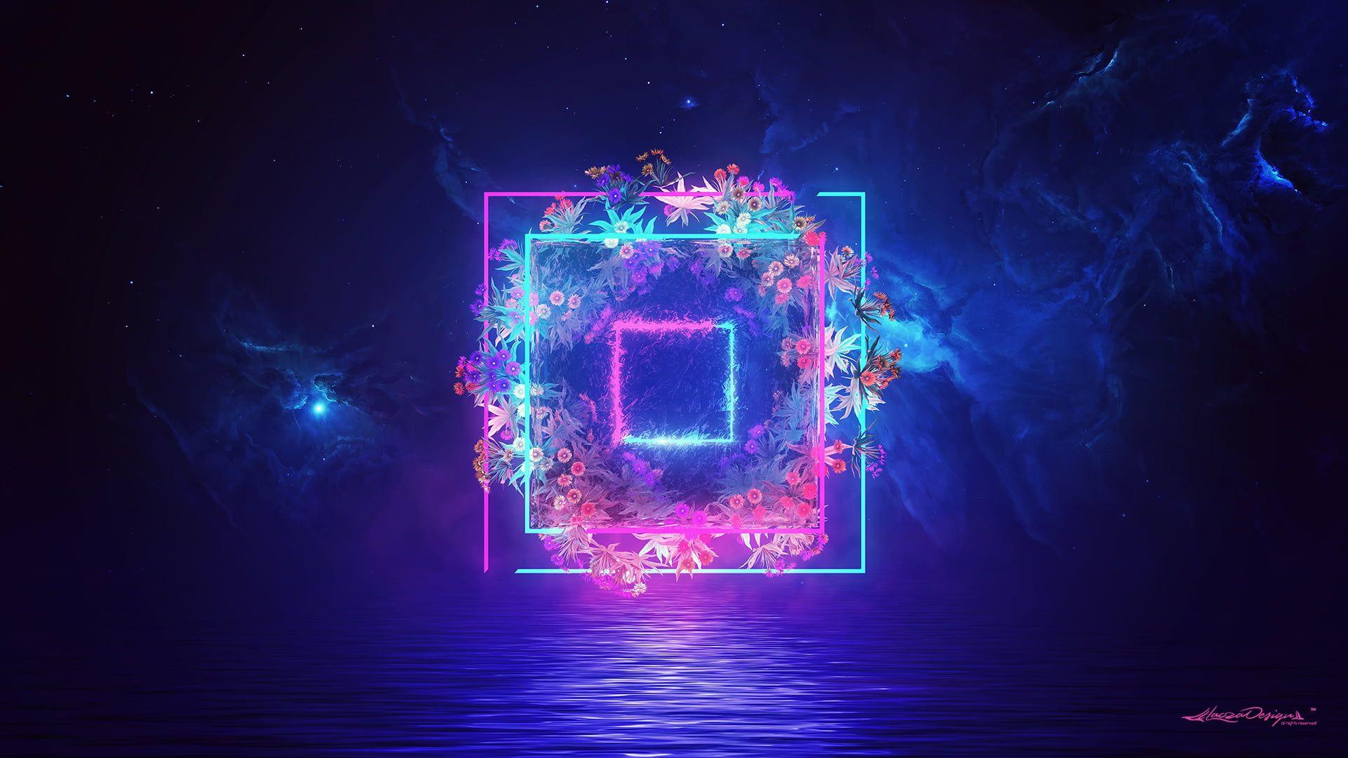 Digital Digital Art Artwork Blue Purple Lights Flowers Wallpaper In 2020 Flower Wallpaper Hd Wallpaper Neon