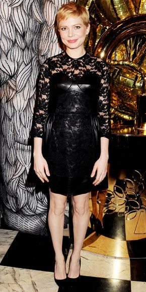 Michelle Williams in a leather and lace combo from Mulberry