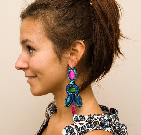 Big soutache earrings in boho style mexican by MANUfakturamaanuela, $62.00