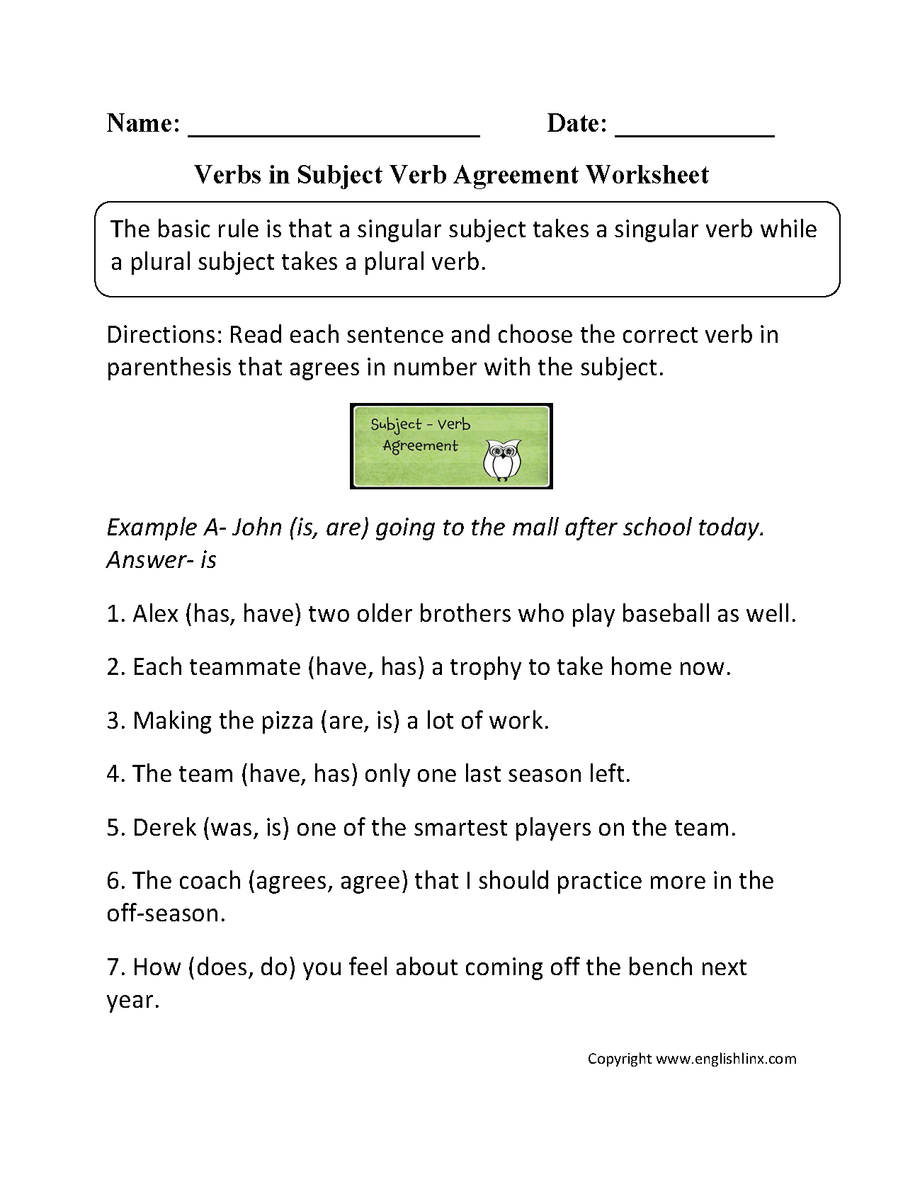 Verbs In Subject Verb Agreement Worksheet