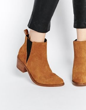 ASOS RISKED IT Pointed Suede Western Chelsea Boots