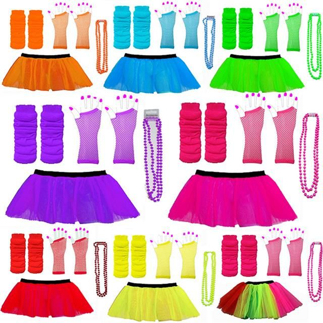 79b773ee9e 3 LAYER TUTU SKIRTS NEON LEG WARMERS GLOVES BEADS 1980S FANCY DRESS HEN  PARTY | eBay