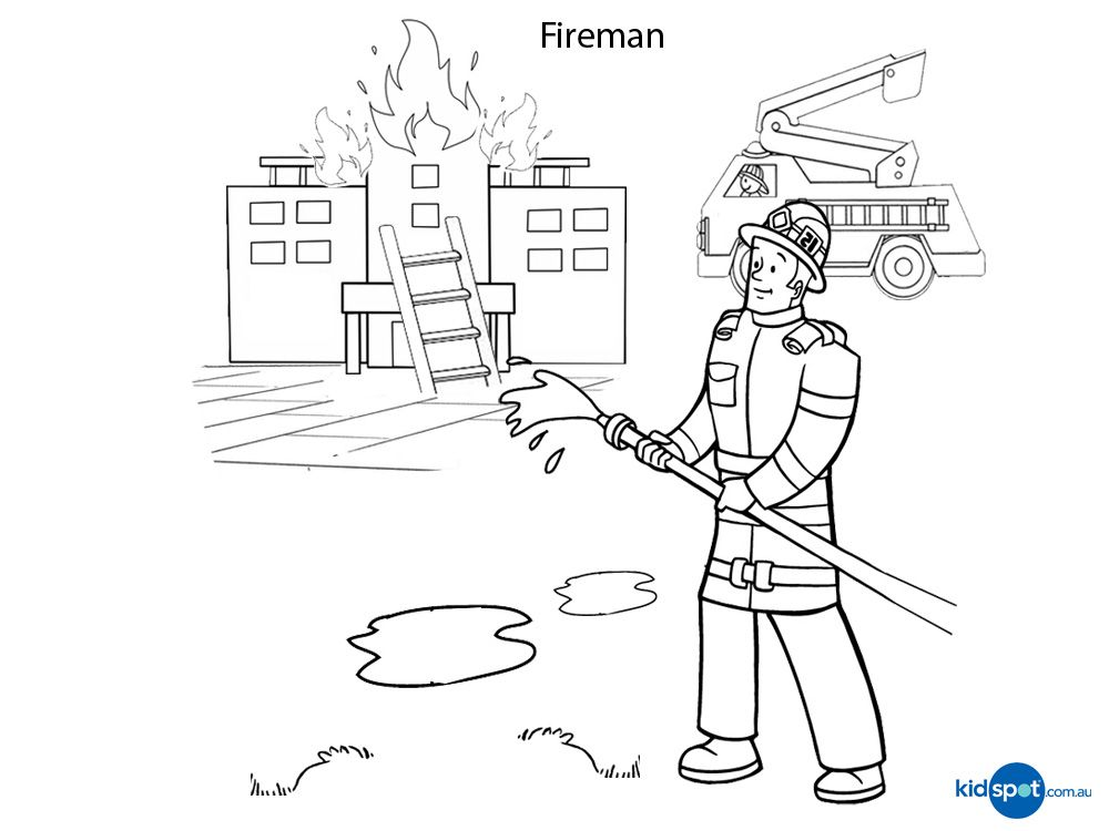 Fireman - Colouring Pages - Job | Stuff For Kids ...