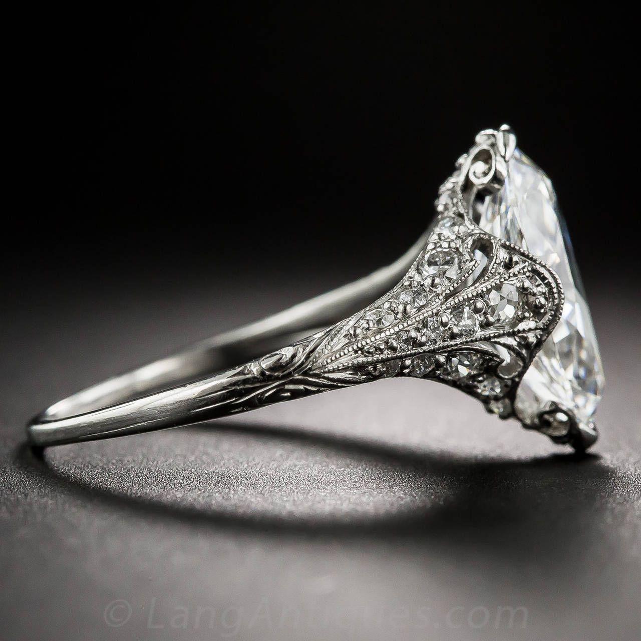 Tiffany & Co. Edwardian 3.14 Carat Marquise Diamond Platinum Ring