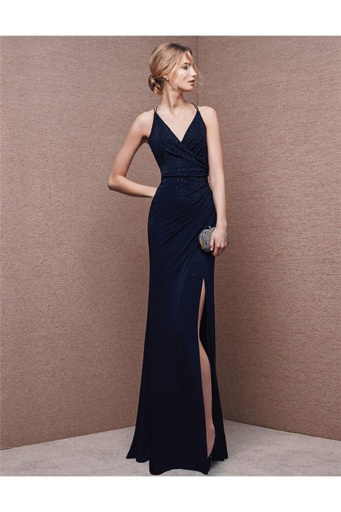 b8a25491dae Sexy V Neck Backless High Slit Long Navy Blue Chiffon Evening Prom Dress  Spaghetti Straps
