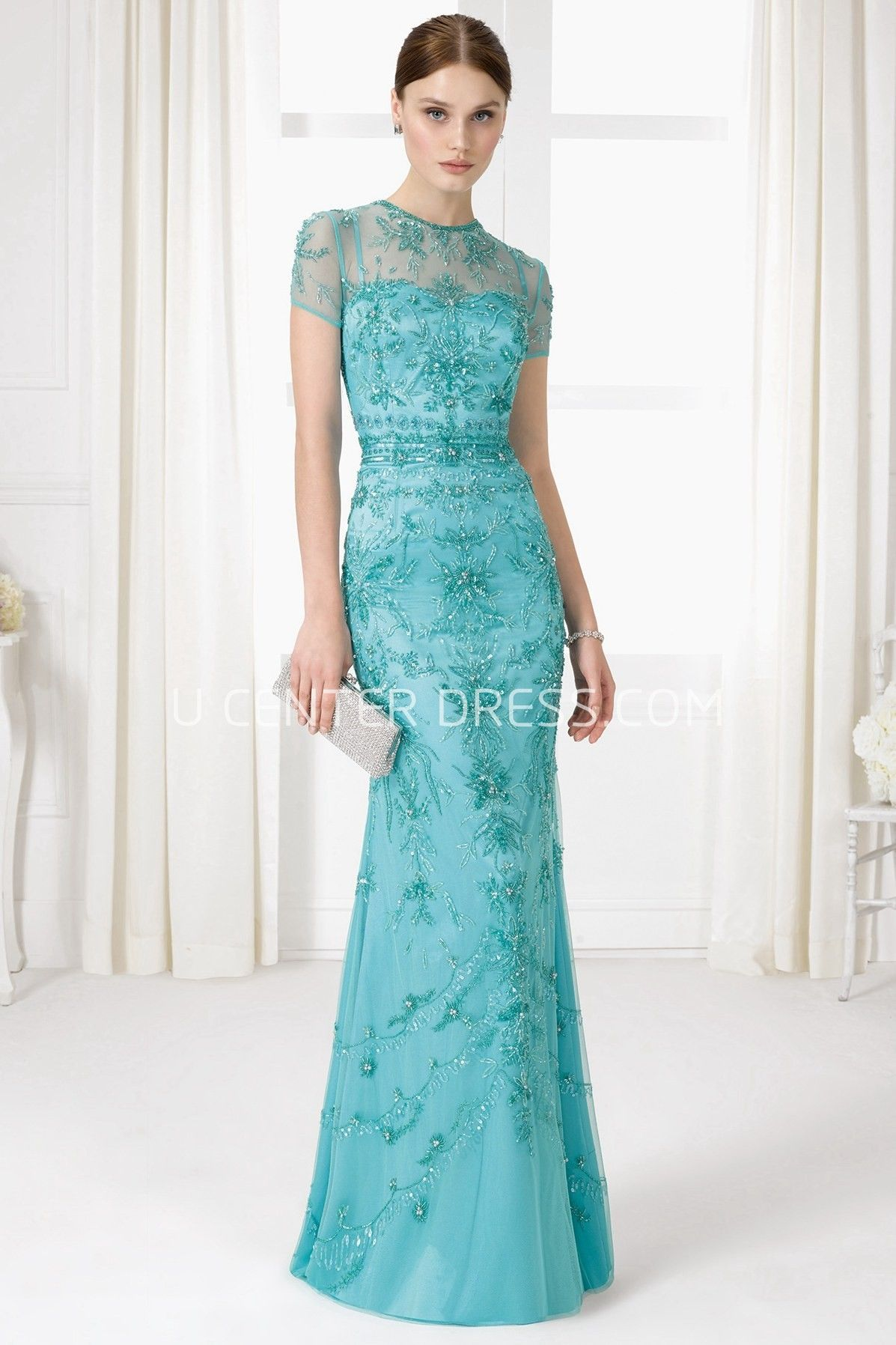 Sheath High Neck Short Sleeve Beaded Tulle Prom Dress With Illusion ...