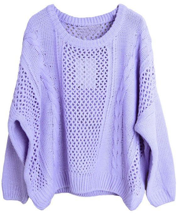 Purple Long Sleeve Hollow Loose Pullovers Sweater - cute worn with ...