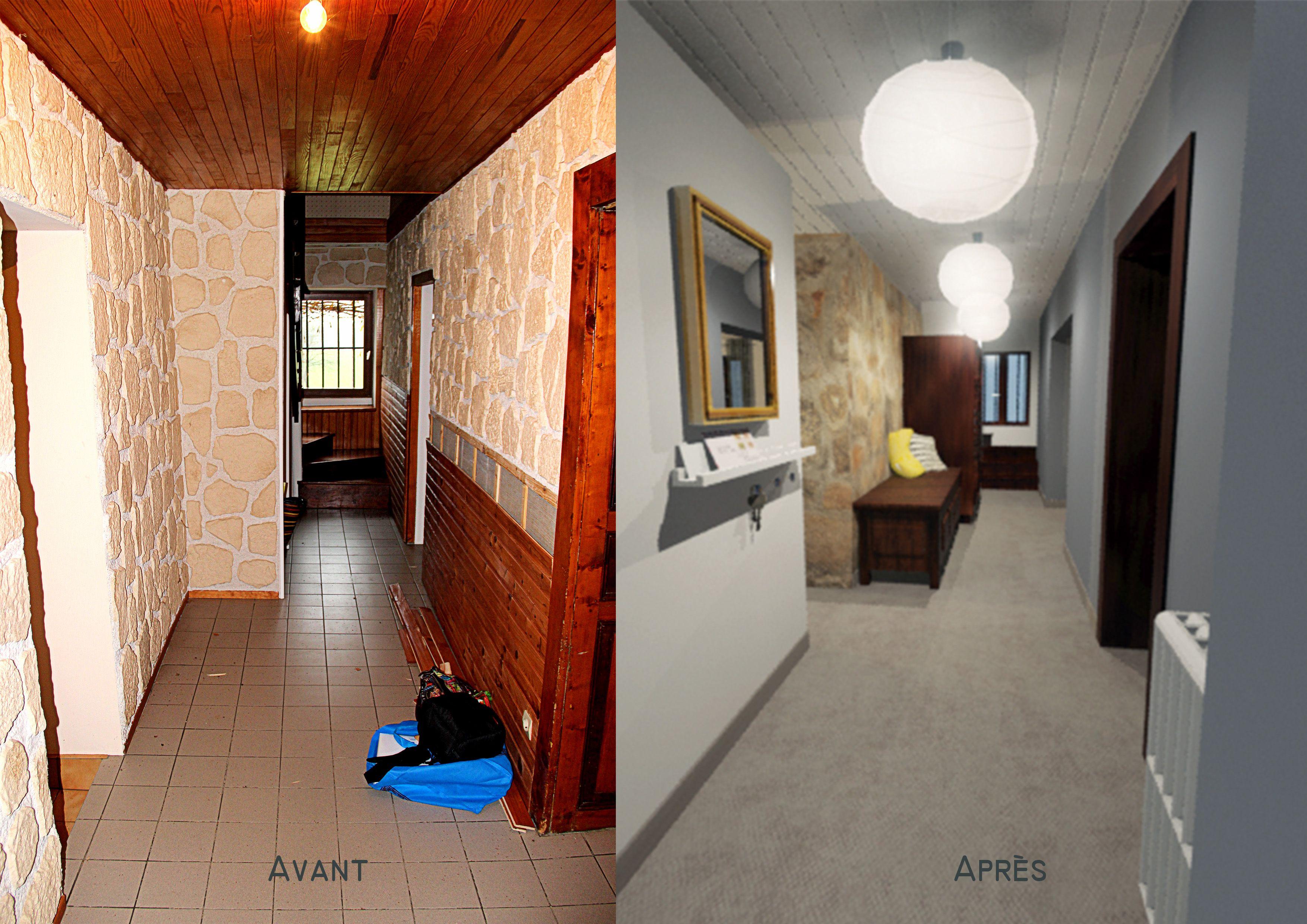 Home Staging Photos Avant Après couloir avant / après, home staging, réhabilitation, mur en