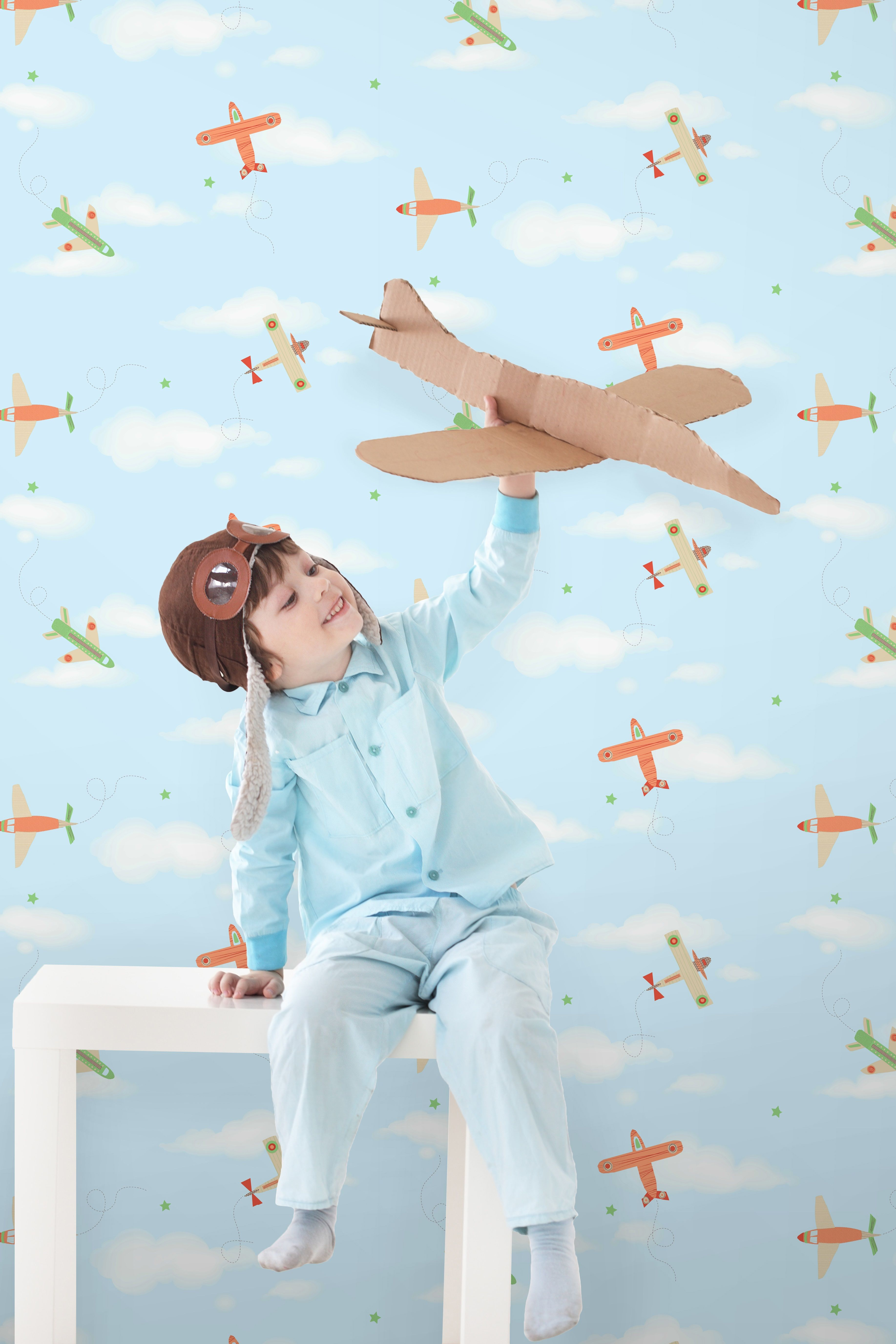 Decorline Carousel Planes Wallpaper, Blue Natural In Home, Furniture &
