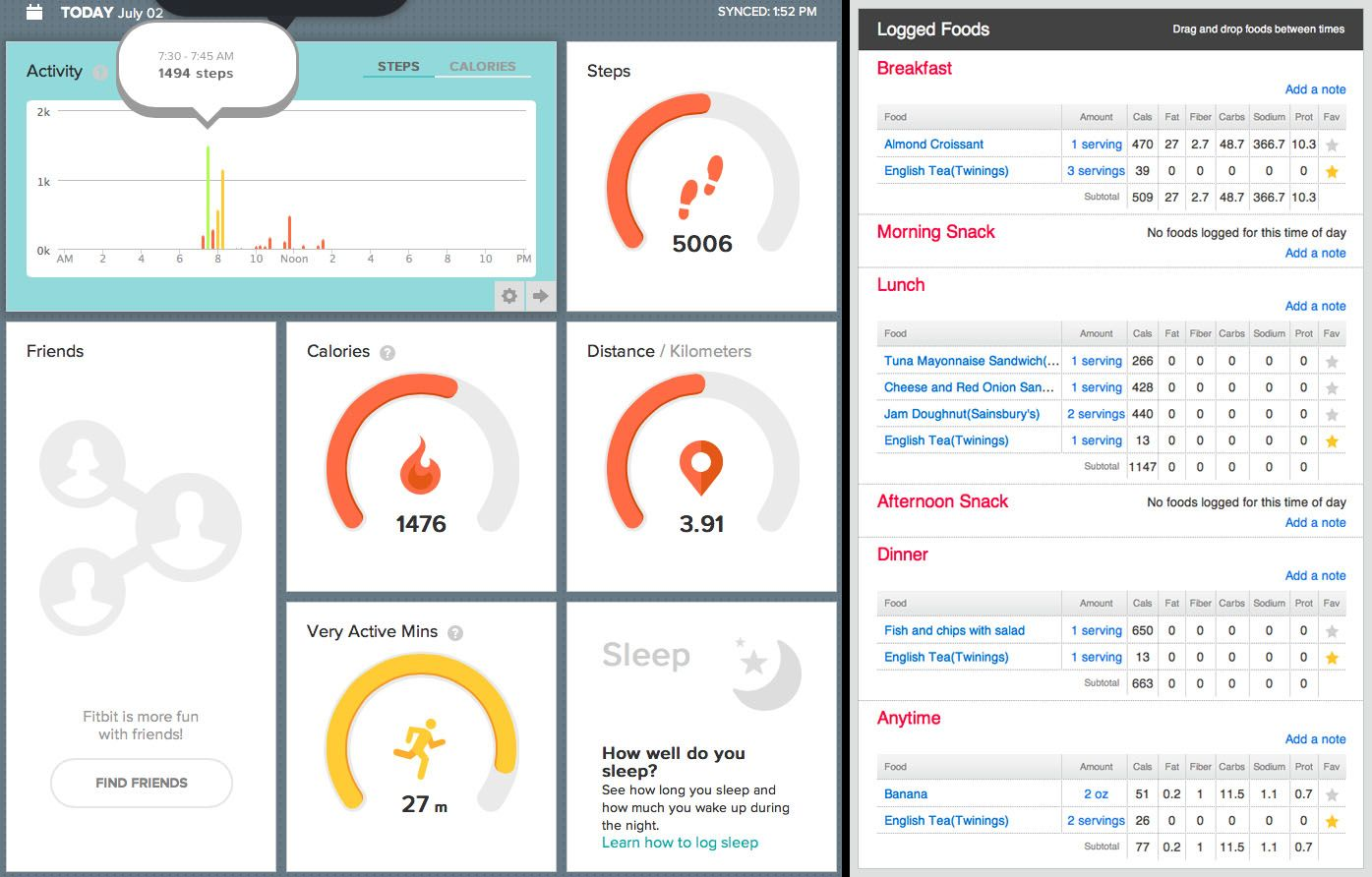 Exercise and Nutrition data dashboard by Fitbit Flex
