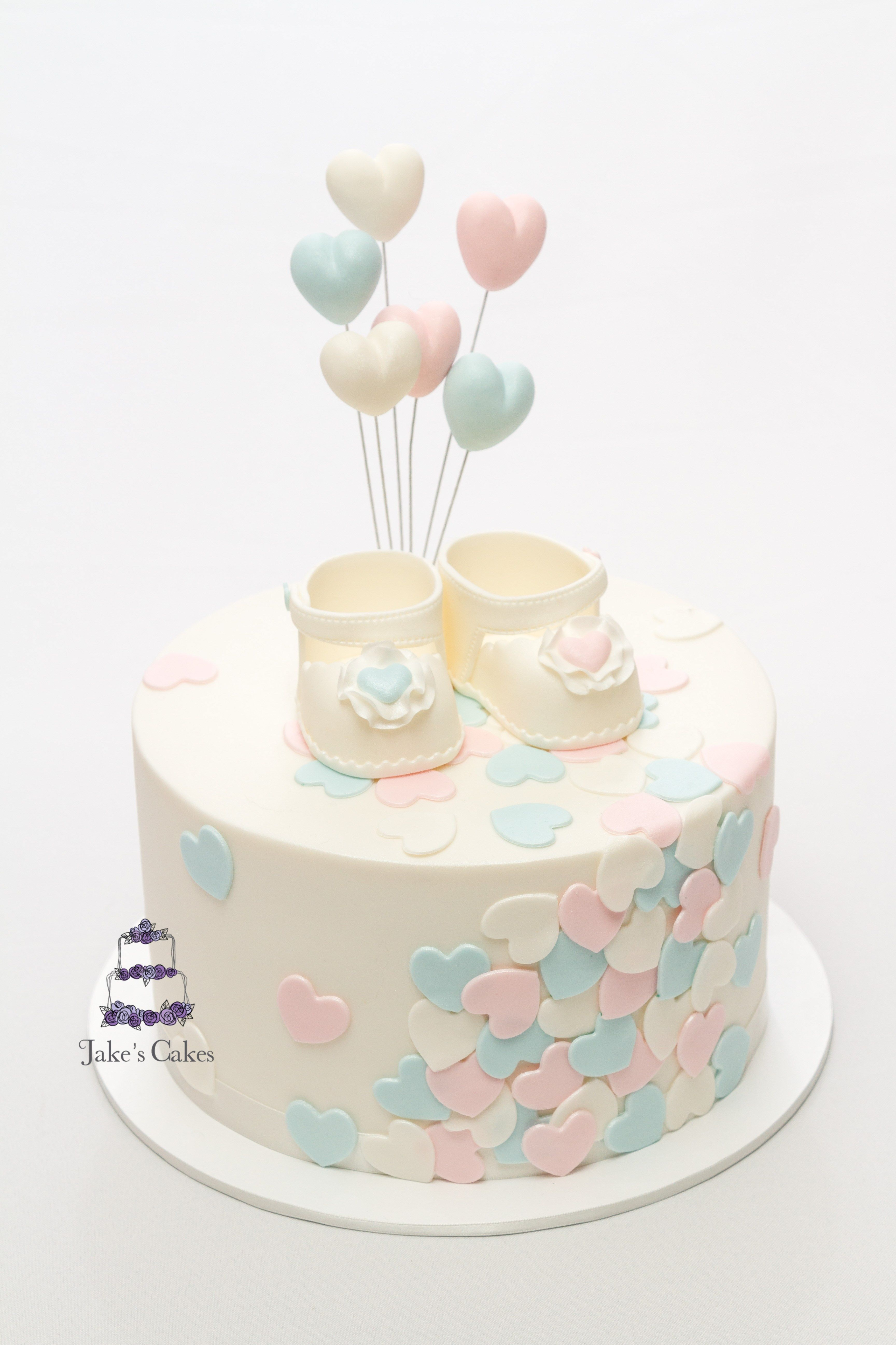 Loveheart Baby Shower Cake For The Lovely Rama Will It Be A Boy Or