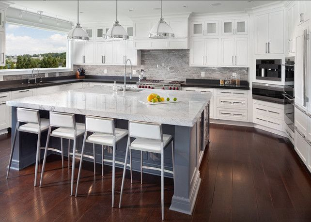 White Kitchen Grey Island kitchen. white kitchen with gray island. gray island paint color