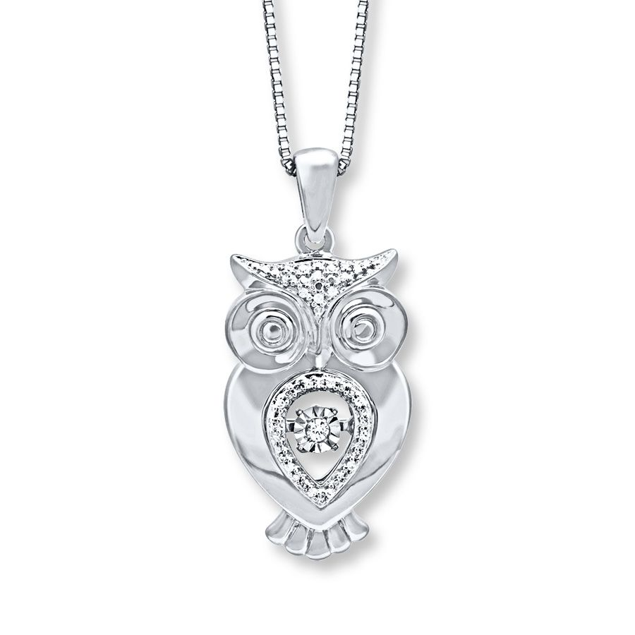 Featuring a central diamond that moves this cute owl necklace