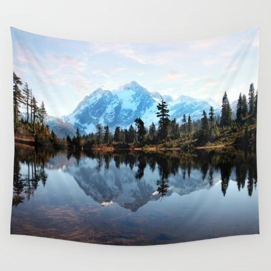 Mt Shuksan Wall Tapestry by Sylvia Cook Photography #PrintedGift